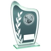 Grey Silver Glass Plaque With Golf Insert Trophy 6.5in