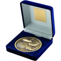 Blue Velvet Box And Antique Gold Golf Medal Trophy - 4in