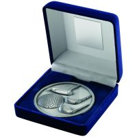 Blue Velvet Box And Antique Silver Golf Medal Trophy - 4in