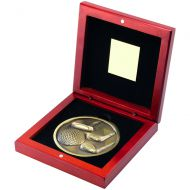 Rosewood Box And Antique Gold Golf Medallion Trophy - 4.5in