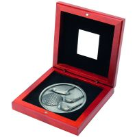 Rosewood Box And Antique Silver Golf Medallion Trophy - 4.5in