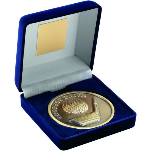 Blue Velvet Box And Antique Gold Longest Drive Golf Medal Trophy - 4in