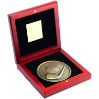 Rosewood Box And Antique Gold Nearest The Pin Golf Medallion Trophy - 4.5in