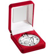 Red Velvet Box And Silver Golf Medal Trophy - 3.5in