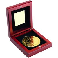 Rosewood Box And Gold Golf Medal Trophy -3.75in