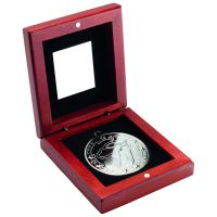 Rosewood Box And Silver Golf Medal Trophy -3.75in