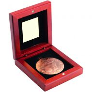 Rosewood Box And Bronze Golf Medal Trophy -3.75in