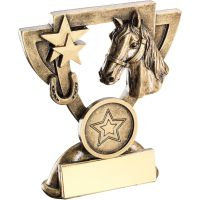 Bronze Gold Horse Mini Cup Trophy Award Trophy - (1in Centre) 4.25in
