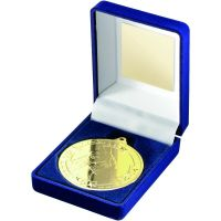 Blue Velvet Box And Medal Horse Trophy Gold 3.5in