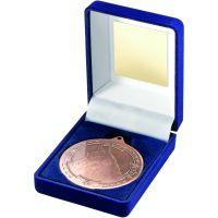 Blue Velvet Box And Medal Horse Trophy Bronze 3.5in