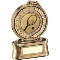 Bronze Gold Medal And Ribbon With Tennis Insert Trophy - 5in