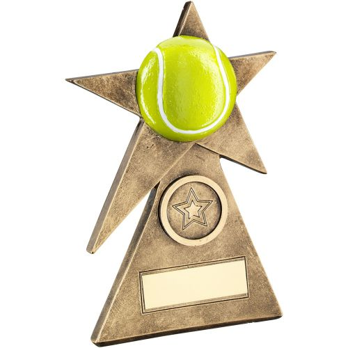 Bronze Gold Yellow Tennis Star On Pyramid Base Trophy - (1in Centre) - 4in