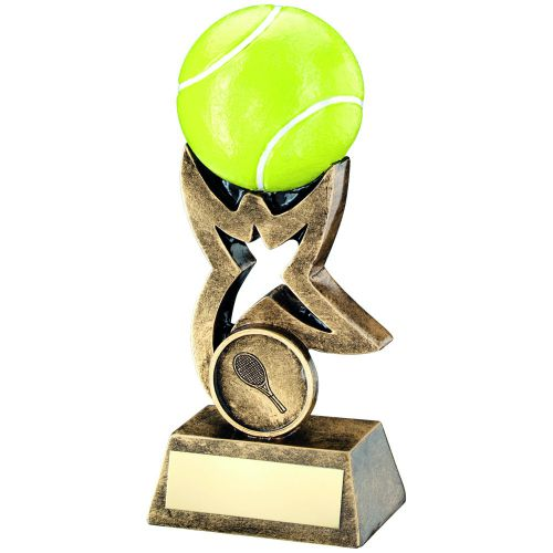 Bronze Gold Yellow Tennis Ball On Star Riser Trophy 7in