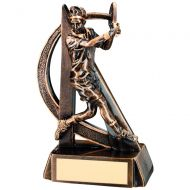 Bronze Gold Male Tennis Geo Figure Trophy - 6.5in