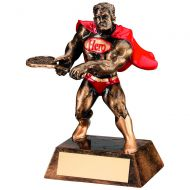 Bronze Gold Red Resin Tennis Hero Trophy - 6in