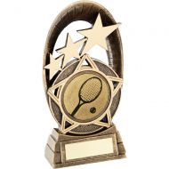 Bronze Gold Generic Tri-Star Oval With Tennis Insert Trophy - 5.5in