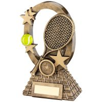 Bronze Gold Yellow Tennis Oval Stars Series Trophy - (1in Centre) 7.25in