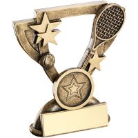 Bronze Gold Tennis Mini Cup Trophy Award Trophy - (1in Centre) 3.75in