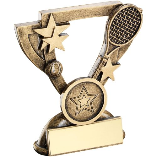 Bronze Gold Tennis Mini Cup Trophy Award Trophy - (1in Centre) 4.25in