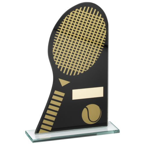 Black Gold Printed Glass Plaque With Tennis Racket Ball Trophy - 7.25in