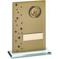 Gold Black Printed Glass Rectangle With Tennis Insert Trophy - 6in