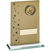 Gold Black Printed Glass Rectangle With Tennis Insert Trophy - 6.75in