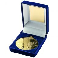 Blue Velvet Box And Gold Tennis Medal Trophy - 3.5in