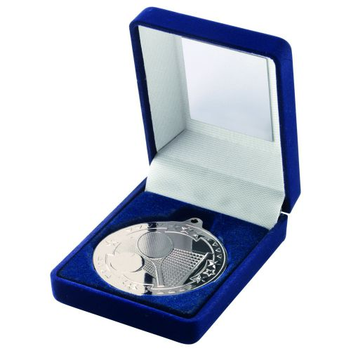 Blue Velvet Box And Silver Tennis Medal Trophy - 3.5in