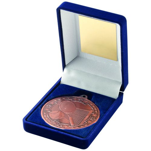 Blue Velvet Box And Bronze Tennis Medal Trophy - 3.5in