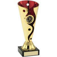 Gold Red Plastic Swirl And Dot Trophy - (1in Centre) 6.75in