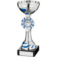 Silver Blue Round Wreath Trophy - (1in Centre) 6.5in