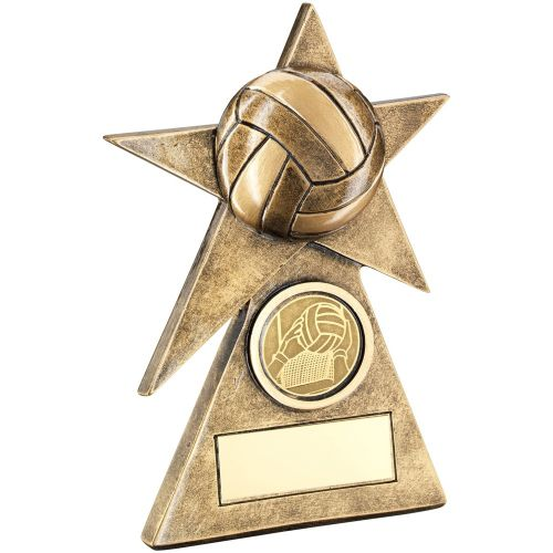 Bronze Gold Gaelic Football Star On Pyramid Base Trophy - (1in Centre) - 6in