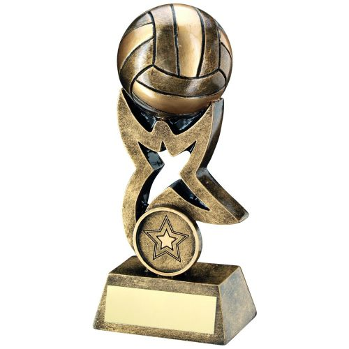 Bronze Gold Gaelic Football On Star Trophy Riser Trophy 5.5in