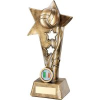 Bronze Gold Gaelic Football Twisted Star Column Trophy - (1in Centre) 7.5in
