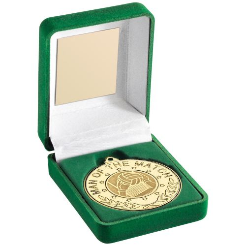 Green Velvet Box And 50mm Medal With Gaelic Football Insert M.O.T.M Trophy Award - G