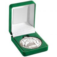 Green Velvet Box and Silver Gaelic Football Medal Trophy - 3.5in