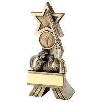 Bronze Gold Rifle And Clay Shooting Star Trophy 5in