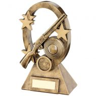 Bronze/Gold Shooting Oval/Stars Series Trophy - (1in Centre) 6.25in