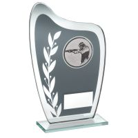 Grey Silver Glass Plaque With Shooting Insert Trophy 6.5in