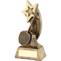 Bronze Gold Badminton Rackets Shuttlecock With Shooting Star Trophy - 5in