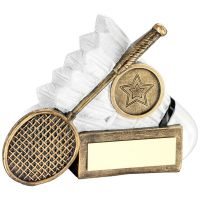 Bronze White Badminton Shuttlecock And Racket Chunky Flatback Trophy Award