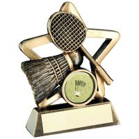 Bronze Gold Badminton Mini Star Trophy 4.25in