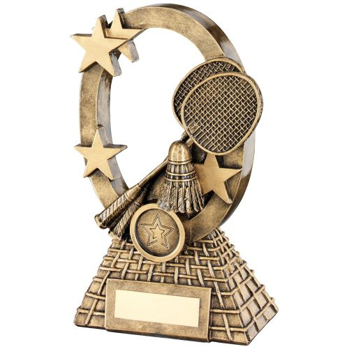 Bronze Gold Badminton Oval Stars Series Trophy - (1in Centre) 6.25in