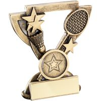Bronze Gold Badminton Mini Cup Trophy Award Trophy - (1in Centre) 3.75in