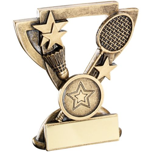 Bronze Gold Badminton Mini Cup Trophy Award Trophy - (1in Centre) 4.25in