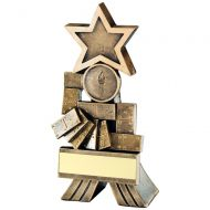 Bronze Gold Dominoes Shooting Star Trophy 5in