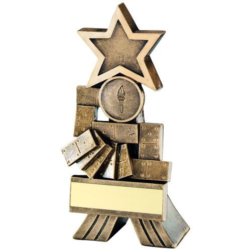 Bronze Gold Dominoes Shooting Star Trophy 5in