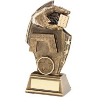 Bronze Gold Dominoes Curved Plaque Trophy - (1in Centre) 6.75in