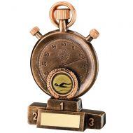 Bronze Gold Stopwatch On Podium Trophy - 6.25in