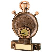 Bronze Gold Stopwatch On Podium Trophy - 5.25in